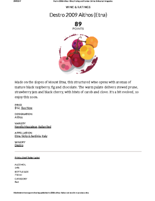 Destro 2009 Aithos (Etna) Rating and Review _ Wine Enthusiast Magazine