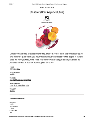 Destro 2009 Aspide (Etna) Rating and Review _ Wine Enthusiast Magazine