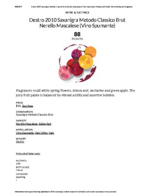 Destro 2010 Saxanigra Metodo Classico Brut Nerello Mascalese (Vino Spumante) Rating and Review _ Wine Enthusiast Magazine