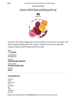 Destro 2010 Sciarakè Rosso (Etna) Rating and Review _ Wine Enthusiast Magazine