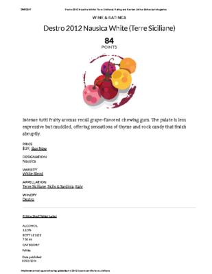 Destro 2012 Nausìca White (Terre Siciliane) Rating and Review _ Wine Enthusiast Magazine