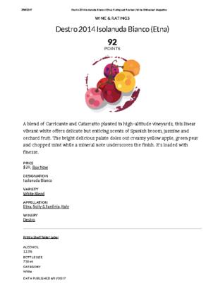 Destro 2014 Isolanuda Bianco (Etna) Rating and Review _ Wine Enthusiast Magazine