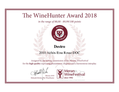 The WineHunter Award_ROSSO 226 MERANO AITHOS 2010